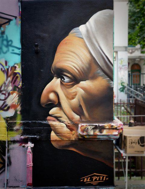 Step by Step – Wall Mural Graffiti Portrait – Caravaggio Style. Caravaggio Portrait als Fassadengestaltung im Graffiti Stil.