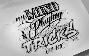 Kalligraphie und Lettering Zeichnung als Logo Design. Auftragsarbeiten