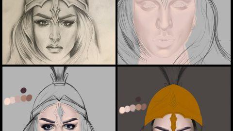 Portrait Step by Step – Von einer Skizze / Zeichnung zur fertigen Illustration